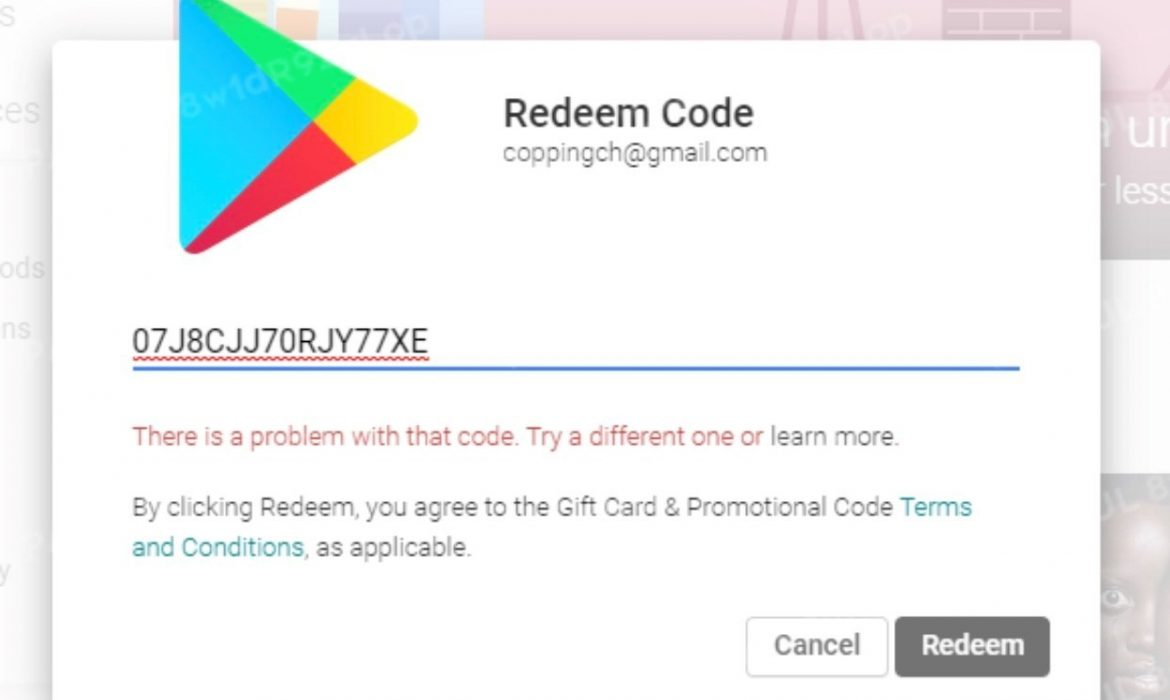 How to fix Google play gift card error